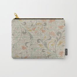 Decorative vintage-style paper with overlapping letters and flowers background Carry-All Pouch