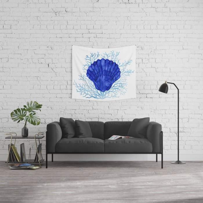 Seashell on coral - watercolors Wall Tapestry
