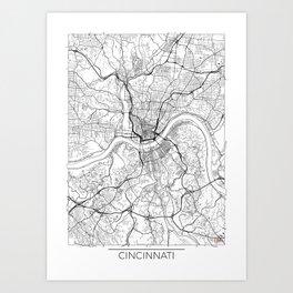 Cincinnati Map White Art Print