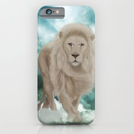 Awesome white lion in the sky iPhone Case