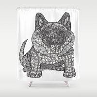 german shepherd Shower Curtains featuring The Guardian - German Shepherd by DiAnne Ferrer