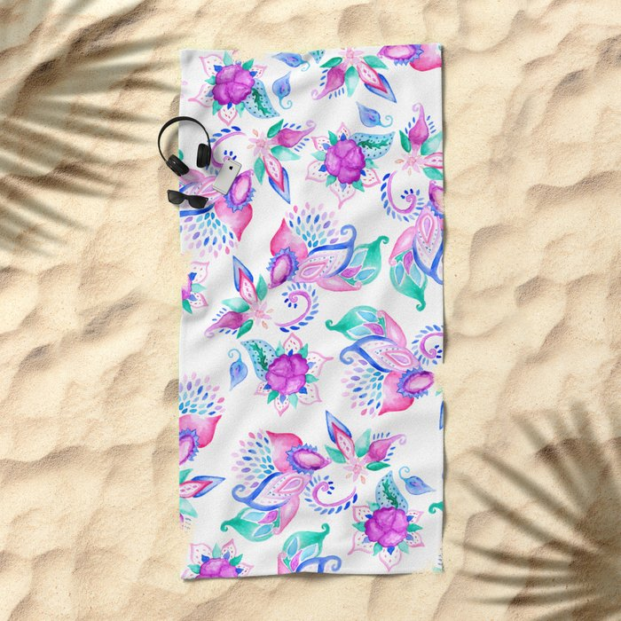Modern pink turquoise hand painted floral paisley pattern illustration  Beach Towel