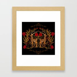 Two Stags Protecting The Dark Forest Gate Framed Art Print