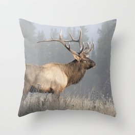 Bull Elk One Throw Pillow