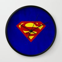superman Wall Clocks featuring Superman by Some_Designs