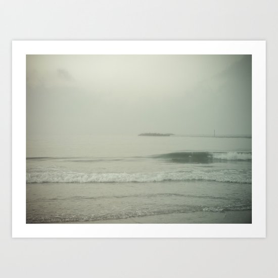 Morning Fog at Wrightsville Beach Jetty Art Print