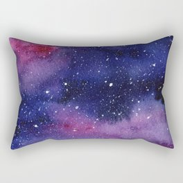 Watercolor Galaxy Nebula Pink Purple Sky Stars Rectangular Pillow