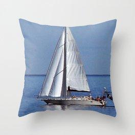 Sailing up the River Throw Pillow