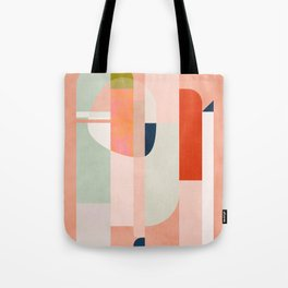 shapes modern mid-century peach pink coral mint Tote Bag
