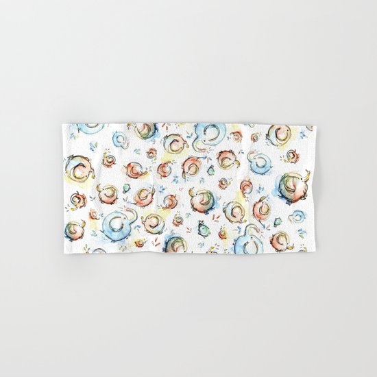 Elephants Pattern Watercolor Whimsical Animals Hand & Bath Towel