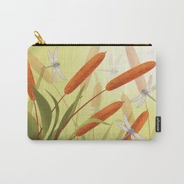 the reeds and dragonflies on the rising sun background Carry-All Pouch