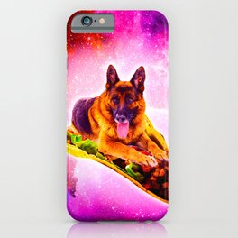Outer Space Galaxy Dog Riding Taco iPhone Case