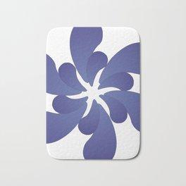 Indigo ombre six-petaled spiral flower Bath Mat