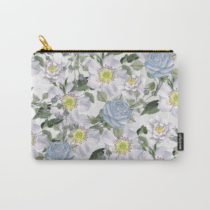Vintage Roses Blue Carry-All Pouch