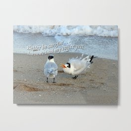 Sea Gulls - Coffee Metal Print