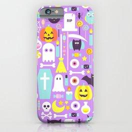 Pastel Purple Cute Halloween Pattern iPhone Case