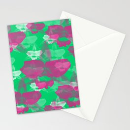 Orchid Flowers Print Pattern /Green Background  Stationery Cards