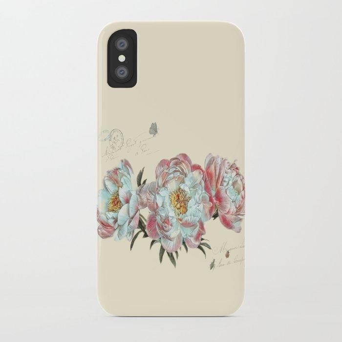 vintage peonies iPhone Case