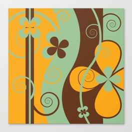 Modern Retro Floral Graphic Art Canvas Print