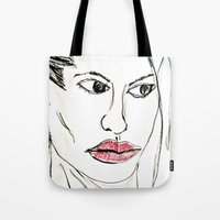 angelina jolie Tote Bags featuring ANGELINA JOLIE by JANUARY FROST