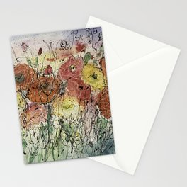 Red and Yellow Poppies by Olena Art Stationery Cards