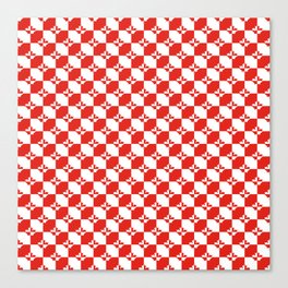Small Red and White Canadian Maple Leaf Chess Board Canvas Print