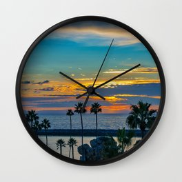 Newport Harbor Entrance Sunset Wall Clock