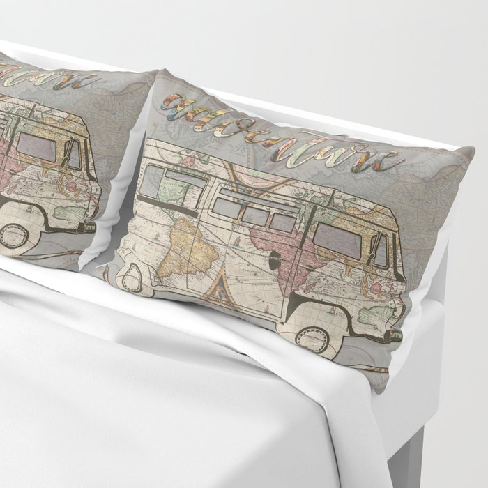 adventure awaits world map design 1 Pillow Sham