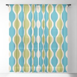 Classic Retro Ogee Pattern 852 Turquoise and Olive Sheer Curtain