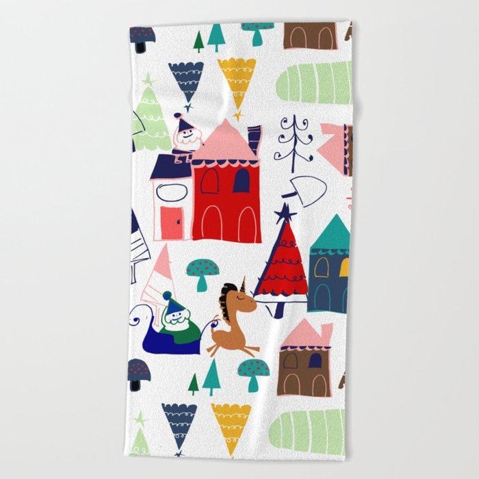 Christmas unicorn Beach Towel