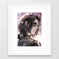 winter soldier Framed Art Prints featuring Winter Soldier by Lüleiya