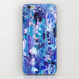 Modern blue acrylic abstract painting brushstrokes iPhone Skin