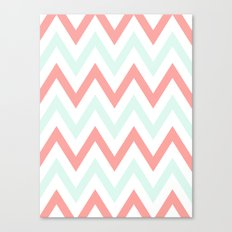 Mint & Coral Chevron Canvas Print