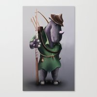 robin hood Canvas Prints featuring Robin Hood Rhino by Jon Hopkins Illustration