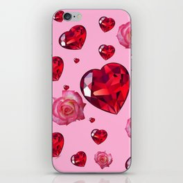 PINK  ART RAINING ROSES RUBY RED VALENTINES HEARTS iPhone Skin