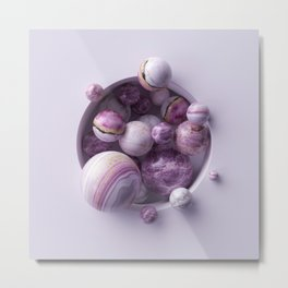 3d abstract background, assorted pink marble balls inside round white niche Metal Print