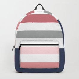 Gray, navy and pink  stripes Backpack