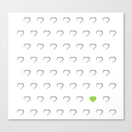 Hearts - Green Canvas Print