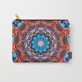 Digital Bright Colorful Red Blue Kaleidoscope Mandala Bohemian Carry-All Pouch