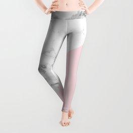 Marble + Pastel Pink Leggings