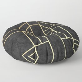 Art Deco Black Marble Floor Pillow