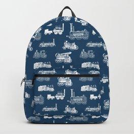 Antique Steam Engines // Navy Blue Backpack