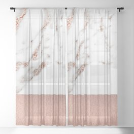 Rose gold marble and foil Sheer Curtain