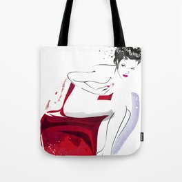 Naked Beauty, Nude Body, Fashion Painting, Fashion IIlustration, Vogue Portrait, Red colour, #14 Tote Bag