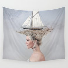Sailing - White Wall Tapestry
