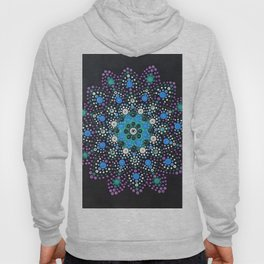 Icy Dot Mandala Snowflake Painting In Lilac Teal and Blue Hoody