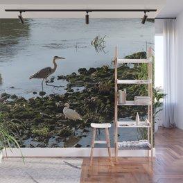 Herons on the river bank Wall Mural