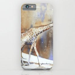 Fine art watercolor batik painting on rice paper of giraffe in Africa iPhone Case