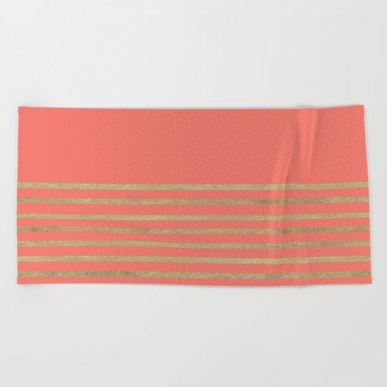 Peach and Gold Stripes Beach Towel