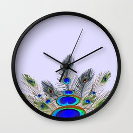 GREEN PEACOCK FEATHER & JEWELS #2 Wall Clock
